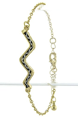 The Jewel Rack Zigzag Accent Bracelet (Black/White)