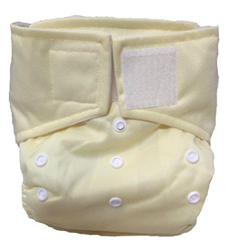 "Kawaii Baby Heavy Duty One Size Velcro Cloth Diaper W/2 Inserts ""Soft Yellow"" - 1"