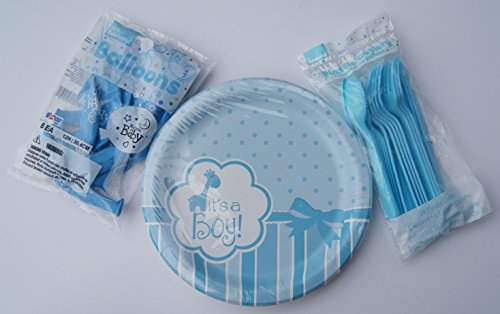 Baby Gender Reveal Party Supply Kit - Boy - Plates, Balloons, Cutlery