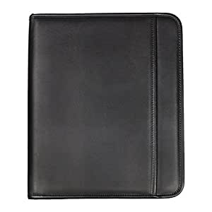 Samsill Professional Padfolio with Zippered Closure, Letter Size Writing Pad, Interior 10.1 Inch Tablet Sleeve, Black