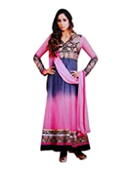 Zerel Pink N Grey Shaded Anarkali With Floral Embroidery Work, Semi Stitched Salwar Suit