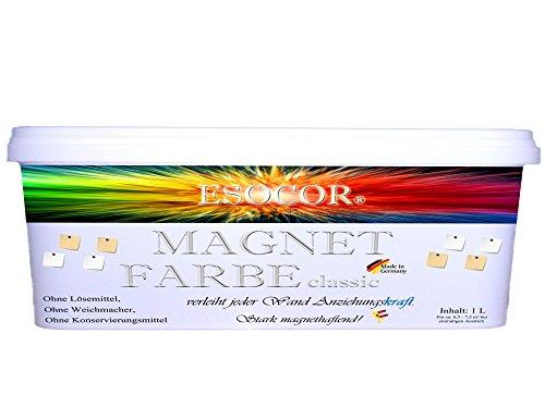 1-Liter-Esocor-Magnetfarbe-classic-5-Neodym-Supermagnete-GRATIS-verleiht-jeder-Wand-Anziehungskraft-stark-magnethaftend-Allergikerfreundlich-Ideal-fr-sensible-Innenrume