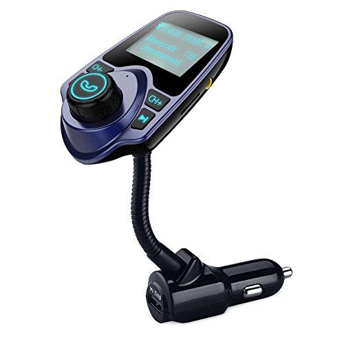 FM Trasmettitore OMorc Bluetooth Auto Kit Car Charger Wireless USB con 3,5mm Porta Audio, Slot per Scheda TF 1,44 Pollici di Schermo Supporta la Visualizzazione Auto Tensione della Batteria, Titoli delle Canzoni, Numero di Entrata Phone, per iPhone 7/7 Plus/6S/6/SE, Samsung Galaxy S7/S6/S5/Note 7, Huawei Xiaomi LG Nokia e Altri Smartphone, Blu
