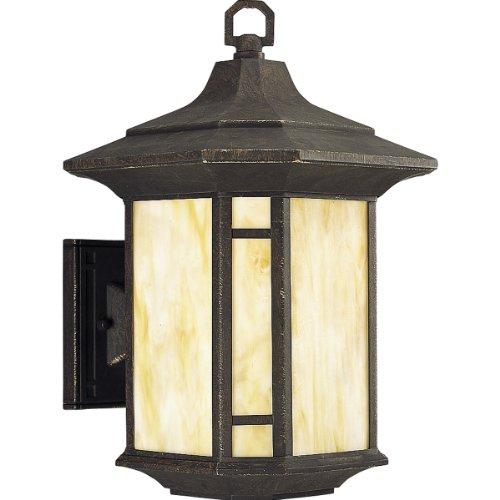 Progress Lighting P5629-46Str Arts And Crafts One Light Outdoor Wall Lantern, Weathered Bronze Finish With Honey Art Glass