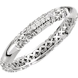 IceCarats Designer Jewelry 14K White Gold 14K White 1/5 Ctw Diamond Ring Size 6