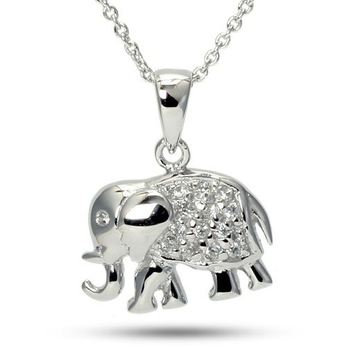 Baby Elephant Charm Cubic Zirconia CZ Sterling Silver Animal Necklace
