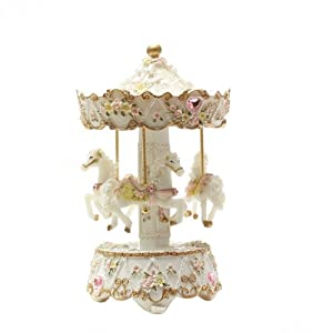 Laxury 3-horse Carousel Music Box Mp295 Brand New Polyresin Material(pink,set of 1)