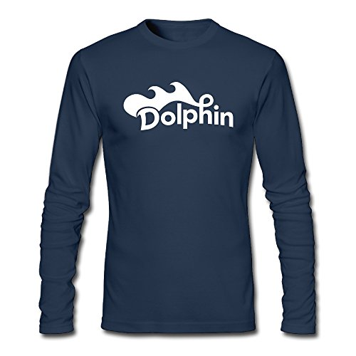 Custom Navy Adult O-Neck Men Dolphin Sports Long Sleeves T Shirt Size L