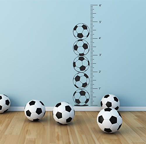 Kids Room Soccer Growth Chart Wall Decal - Children's Height Measurement Sports Ruler Bedroom Sticker (Black, 72x20 inches) (Large Ruler Growth Chart compare prices)