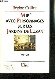 Vue avec personnages sur les jardins de Luzan