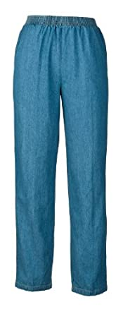 Denim Slacks - Elastic Waist For Dressing Ease (6, light wash)