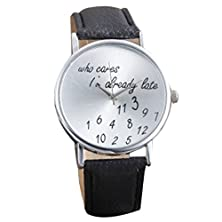 buy Autumnfall(Tm) Funny Comment Nice Lady Wrist Watch(Who Cares I'M Already Late)Black