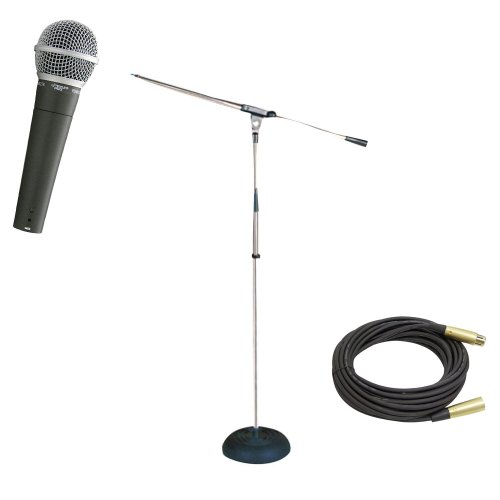 Pyle Mic And Stand Package - Pdmic58 Professional Moving Coil Dynamic Handheld Microphone - Pmks9 Heavy Duty Compact Base Boom Microphone Stand - Ppmcl50 50Ft. Symmetric Microphone Cable Xlr Female To Xlr Male
