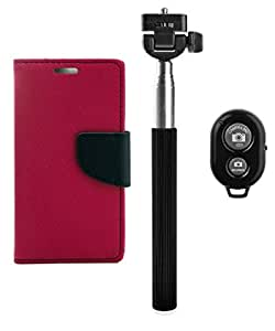 YGS Premium Diary Wallet Mobile Case Cover For Lenovo Vibe K4 Note-Pink with Selfie Stick and Bluetooth Shutter Remote