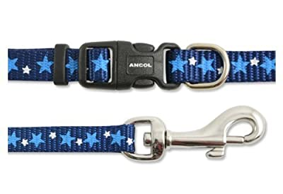 Little Star Puppy & Small Dog Collar & Lead Set (Blue With Sky Blue & White Stars 139840)