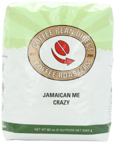 Coffee Bean Direct Jamaican Me Crazy Flavored, Whole Bean Coffee, 5-Pound Bag