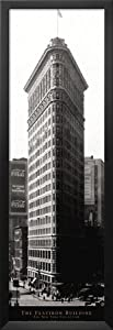 Professionally Framed New York City (Flatiron Building) Photo Print Door Poster - 12x36 with Solid Black Wood Frame