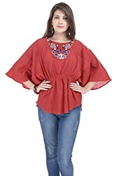 Goodwill Womens Casual Wear Kaftan Look Red Cotton Top