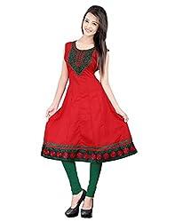 Lookslady Stylish & Elegant Red Sleeveless Plain Solid Cotton Casual Wear Long Designer Ready Made Kurti Kurta For Ladies