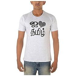 Chennai Gaga Men's Round Neck Cotton T-shirt I Love Thamizh 113-3-837-Ecrumelange-XXL