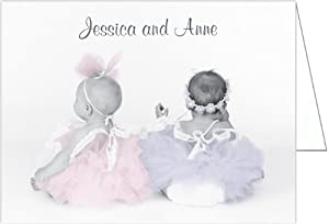 Twin Ballerinas Twins Baby Thank You Cards - Set of 20