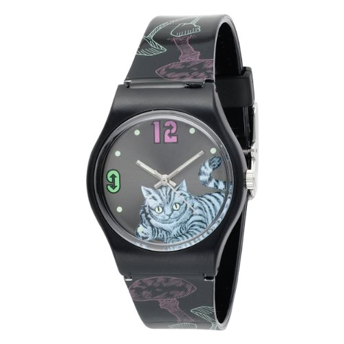 Alice in Wonderland Women's AL1010 Cheshire Cat Black Dial Plastic Strap Watch