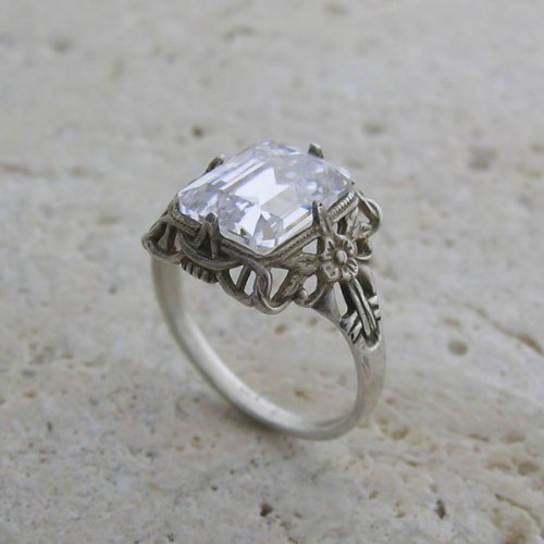 14k White Gold Floral Antique Style CZ Emerald Shape Ring or Ring Setting