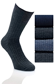 4 Pairs of Ribbed Lambswool Socks