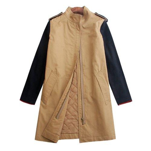 Damen Wool Blend Sleeve Patchwork Trench Mantel Long Jacke Überzieher WF-5289