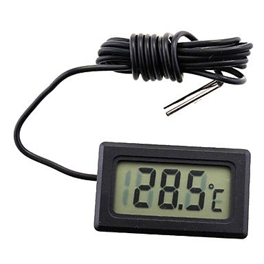 Digital LCD Probe Kühlschrank Gefrierschrank Thermometer Thermograph für Kühlschrank 110C (Schwarz / Weiß)