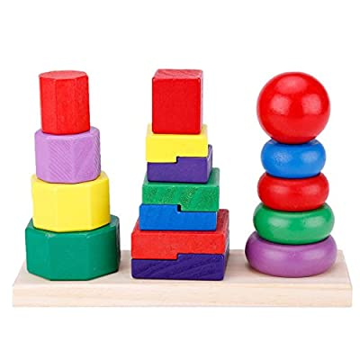 Children Baby Toys Kids Building Blocks Geometric Stacker Toddler Wooden Toy