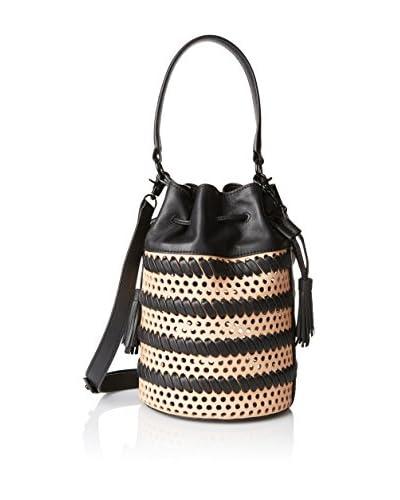 Loeffler Randall Women's Drawstring Bucket Bag, Natural/Black