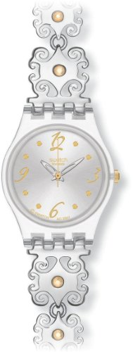 Swatch Ladies Crystal Lace Silver Dial Bracelet Watch