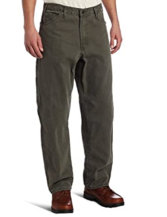 Dickies Men's Relaxed Fit Utility Sanded Duck Pant, Moss Green, 30x30