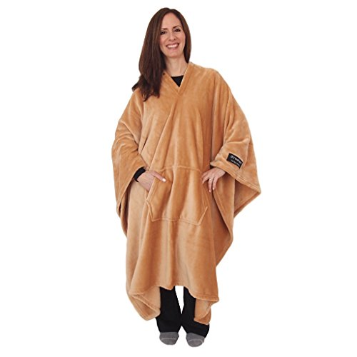 throwbee Blanket-Poncho Wearable Throw Coat for Indoors or Outdoors-Men, Women & Kids, Beige