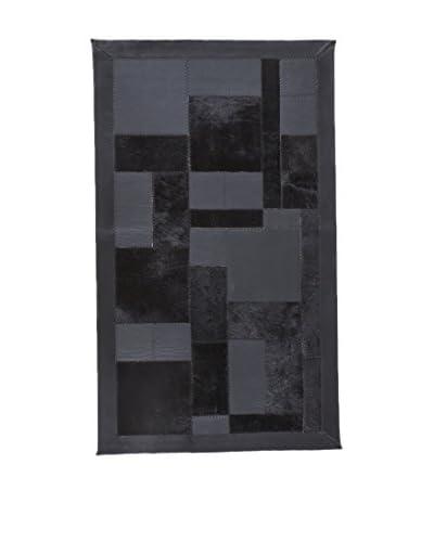 CarpeTrade Teppich Leather Patchwork grau/schwarz