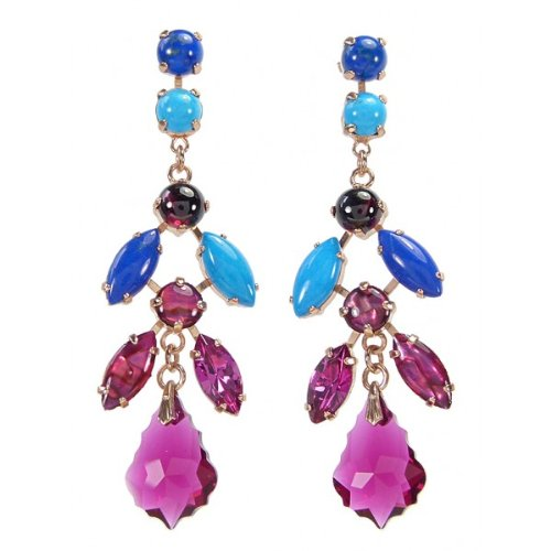 Israeli Amaro Jewelry Studio Dramatically Beautiful Dangle Earrings from 'Wild Flower' Collection Featuring Marquise Cut Chrysocolla, Lapis Lazuli, Abalone, Turquoise, Amethyst and Swarovski Crystals; 24K Rose Gold Plated