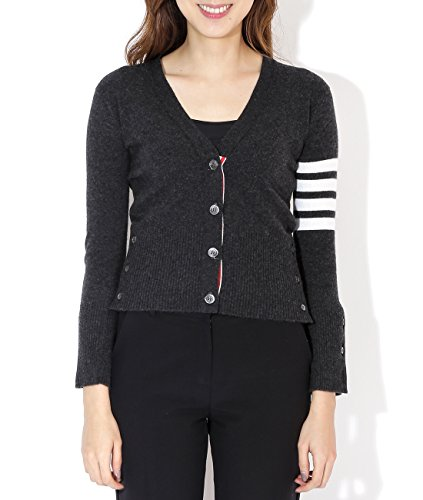 wiberlux-thom-browne-womens-stripe-accent-v-neck-cardigan-36-dark-gray
