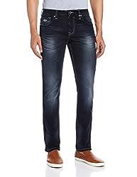 Lawman Men's Slim Fit Jeans (8907201928268_LEON EMB-74STR SLMFT MDNGTBK_34W x 34L_Black)