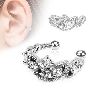 Con perline in Ear Cuff Ornament con pietra cristallo zirconi   Orecchini a lobo unisex finto Piercing rodio argento Studs (orecchini a cerchio orecchini donna uomo moda pinze Ear donne)
