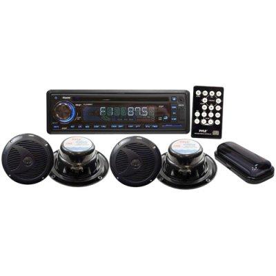 Pyle Plcd4Mrkt Complete Marine Water Proof 4 Speaker Cd/Usb/Mp3/Combo W/ Stereo Cover (Black)