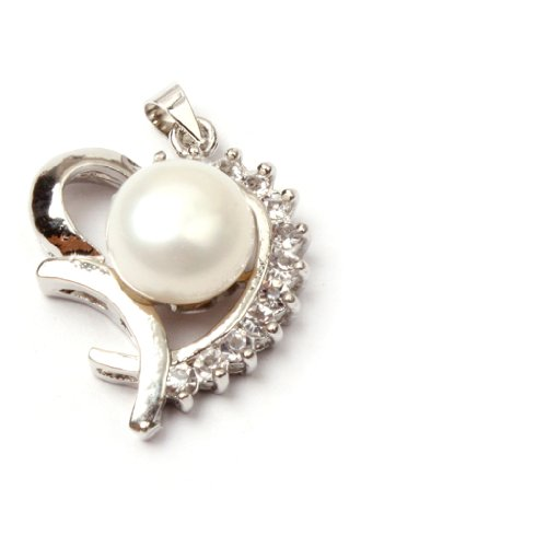 10 11mm white natural pearl & CZ white gold plated pendant lovely heart shape