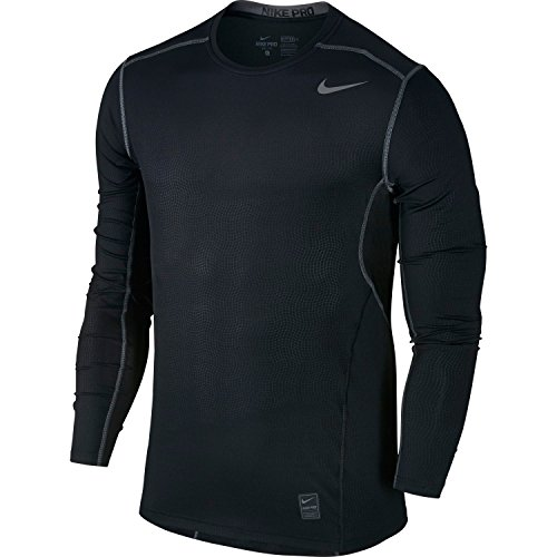 Nike Men's Pro Hypercool Fitted Crew Long Sleeve Shirt (Black, Small)