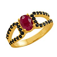 1.66 Ct Oval Red Ruby Black Diamond 14K Yellow Gold Ring