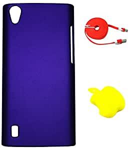 FCS Rubberised Hard Back Case For Vivo Y15 With Card Reader And Wide Strip 2 Meter Data Cable
