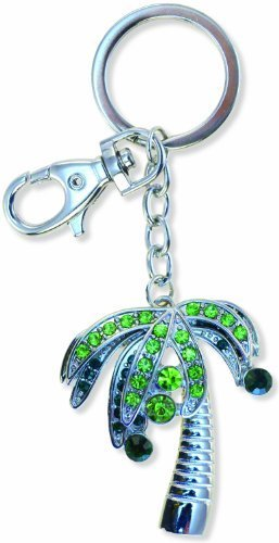 Puzzled Palm Tree Sparkling Charm Keychain