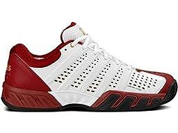 K-Swiss Men\'s Bigshot Light 2.5 Tennis Shoe (White/Biking Red/Gold) (11 D(M) US)
