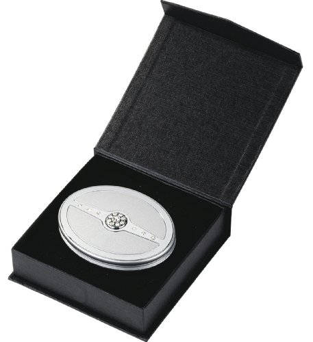 Danielle Oval Compact Mirror with Swarovski Elements Silver/Chrome