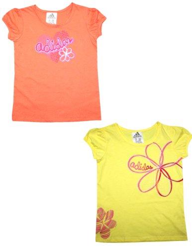 (Pack of 2) Adidas Toddler Crew-Neck Short Sleeve T-Shirt 2T Orange & Yellow