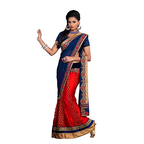 Red Ethniccrush Red & Navy Blue Color Jacquard & Georgette Chiffon Lehanga Embroidered Designer Indian Saree. (Multicolor)